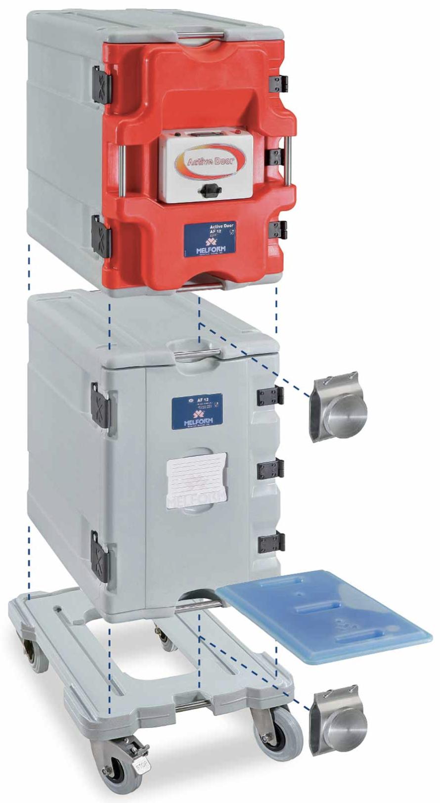 Sistema modular activo AF12 - permite la composición modular de los contenedores AF12. Puerta activa y puerta isotérmica.